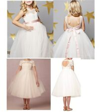 Flower Girl Princess Vintage Special Occasion Party Wedding Lace Bow Dress 2-14Y
