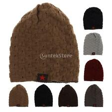 Men Women Knit Beanie Reversible Baggy Cap Skull Chunky Winter Snowboard Ski Hat