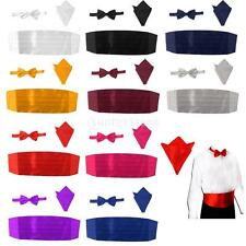 Mens Formal Adjustable Cummerbund Bow Tie Hanky Set Wedding Tuxedo Suit