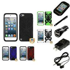 For Apple iPod Touch 5th 6th Gen Butterfly Hybrid IMPACT Armor Case Headphones