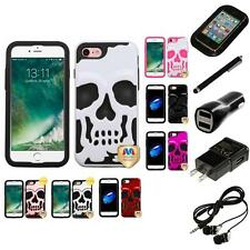 For Apple iPhone 7 [4.7] Hybrid Skull Skeleton Impact Hard Soft Case Headphones