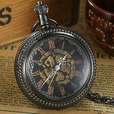 Full Black Steel Men's Mechanical Skeleton Roman Numbers Pocket Watch With Chain