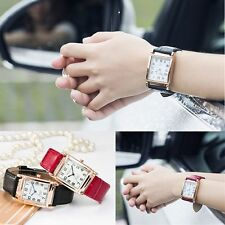 New Men Women Wrist Watch Square Dial Leather Band Quartz Analog