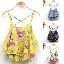 Summer Women Sexy Floral Vest Top Sleeveless Casual Blouse Tops T-Shirt Camisole