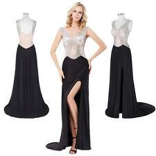 Formal Beaded Long Dress Sexy High-Split  Backless Evening Party Prom Ball Gown