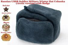 Original Ushanka Russian USSR Soldier Military Winter Hat with Badge Arctic ver.