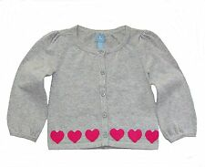 Baby Gap toddler girls gray knit cardigan sweater pink heart trim 18-24 & 2T NWT