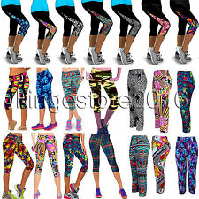 Womens YOGA Workout Print Sports Cropped Pants Leggings Fitness Stretch Trousers