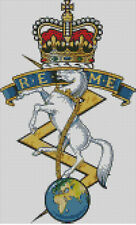 Cross stitch chart, Pattern, Royal Electrical Mechanical Engineers, REME. Army