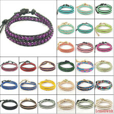 Handmade Knitted Mix Multi Color Glass Crystal Gemstone Beads Leather Bracelet