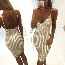 Women Sexy Cocktail Deep V Dress Golden Sequins Bodycon Backless Party Dress