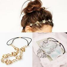 Gold/Silver Jewelry Women Hair Band Head Chain Headband Metal Pearl Flower