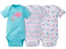 GERBER BABY GIRL Onesies Bodysuits Variety 3-Pack Baby Shower Gift - Blue - BIRD