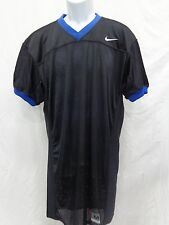 College Authentic Blank Football Jersey Black with Blue Trim