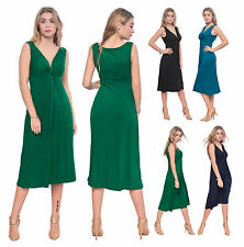 WOMENS SLEEVELESS VNECK DRAPED MIDI DRESS EVENING PARTY COCKTAIL SUMMER DRESSES