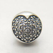 Authentic Genuine S925 Sterling Silver WHITE PAVÉ HEART CLIP CHARM Bead