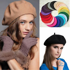 Womens Wool Winter Warmer Hats Slouch Beanie Hat Plain Church French Beret Caps