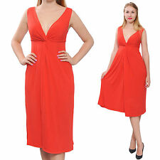 RED WOMENS SLEEVELESS VNECK DRAPED MIDI EVENING PARTY COCKTAIL SUMMER DRESS