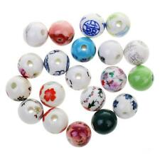 20pcs Mixed Floral Ceramic Porcelain Charms Loose Beads Jewelry Making Findings