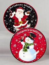 Christmas Ceramic Cake Plate Serving plate Dish Father christmas/Snowman NEW
