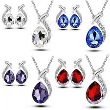 Women Chic Crystal Pendant Necklace Stud Earring Silver Plated Set