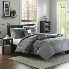 Modern Classic Universal Plaid Gray Grey 5-PC Comforter Set Full/Queen Twin KING