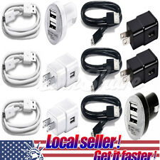 US NEW Micro USB Cable + Car and Wall Home Charger for SAMSUNG GALAXY S5 NOTE 3