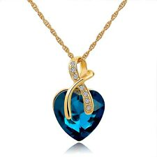 Women Charm Necklace Chain Jewelry Heart Pendant Rhinestone Crystal
