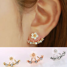 Fashion Women Daisy Flower Rhinestone Silver Hoop Stud Ear Earring Dress Jewelry