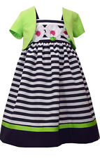 Girls Easter Dress Navy & White Striped Daisy Dress Lime Bolero Bonnie Jean NWT