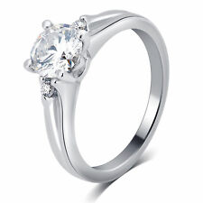 14K White Gold Ladies Genuine Diamond Round Solitaire Engagement Ring 1.06CT