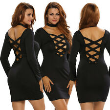 Sexy Women Bodycon Crisscross Mini Dress Hollow Backless Clubwear Party Cocktail