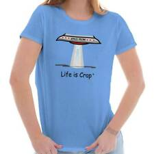 Life Is Crap Space Probe Good Life Funny Shirts Gift Ideas Ladies T-Shirt