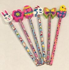 Lisa Frank Lot of 6 Pencils W Erasers Animals Bunny Butterfly Flower Easter Vtg