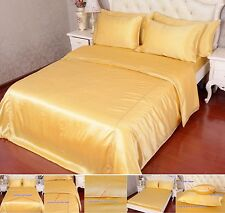 16 Momme 100% Pure Silk Duvet Quilt Cover Sheets Pillow Cases Seamed Gold