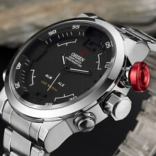 OHSEN Luxury Silver Stainless Steel Calendar LED Sport Business Waterproof Watch