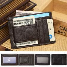 Mens Genuine Slim Wallet Cash Credit ID Card Holder with Magnetic Money Clip