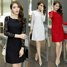 Womens Long Sleeve Lace Evening Party Cocktail OL Bodycon Short Mini Dress S-2XL
