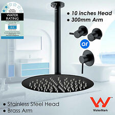 "WELS Thin 10"" Round Rainfall Shower Head Ceiling Arm Set Mixer Taps Matt Black"