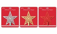 20cm Glitter Star Christmas Tree Topper Decoration Ornament Red- Silver- Gold