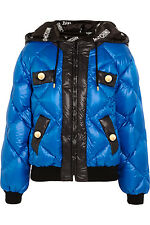 AW16 Moschino Couture Jeremy Scott Blue Quilted Shell Hooded Down Jacket Coat
