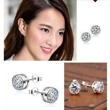 Round Women Men Gift Clear Silver Plated Zircon Crystal Ear Studs Earrings