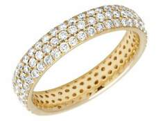 Ladies 14K Yellow Gold Real Diamond 3 Row Eternity Wedding Ring Band 1.85CT 4MM