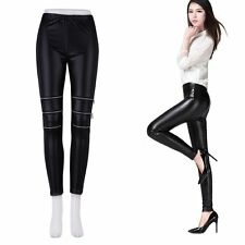 Lady Slim Three Zipper Sexy Faux Leather Stretchy Leggings Trousers LOT BE
