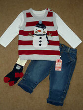 Baby Boys Smart Christmas Jumper Jeans T Shirt Socks 4pc Outfit 0-3-6 months