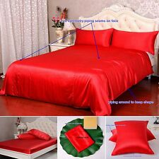 19 Momme 100% Pure Silk Duvet Quilt Cover Sheets Pillow Cases Seamed Red