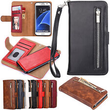 Mobile phone shell Luxury Leather Removable  Wallet Zipper Flip Card Case Cover