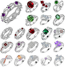 2017 Women Men New Fashion Jewelry Solid 925 Sterling Silver Rings+Box UK Size Q