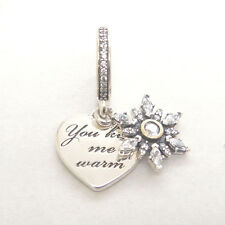 NEW Genuine Authentic S925 Sterling Silver Snowflake Heart Clear CZ Charm