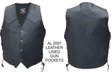 A2207 MENS BUFFALO LEATHER MOTORCYCLE VEST  with GUN POCKETS